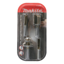 "Makita P-24876 4pce Set Straight Bits 6,12,19mm Rounding Over Bit R13mm Shank: 1/4"", P2..."