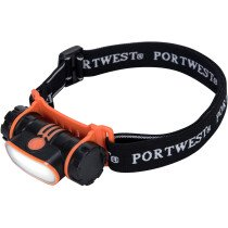 Portwest PA70 USB Rechargeable LED Head Light - Orange/Black - One Size