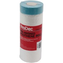 ProDec PDPY013 Pre-Masked Poly Roll Disposable Polythene Dust Sheet 110cm x 25m