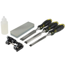 Roughneck 30-165 Professional Bevel Edge Chisel 3 Piece Set and Sharpening Kit ROU30165