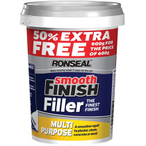 Ronseal 36545 Smooth Finish Multi Purpose Interior Wall Filler Ready Mixed 600g +50% RSLMPRMF6VP