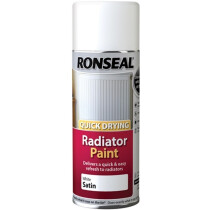 Ronseal 35093 One Coat Radiator Paint Spray White Satin 400ml RSLQDRSWS400