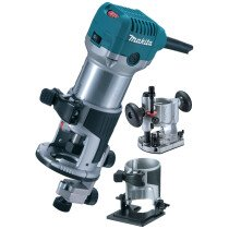 "Makita RT0700CX2 Combination Router/Trimmer + Bases 700w 6mm & 8mm Collets (1/4"" & 3/8"")"