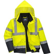 Portwest S266 Hi-Vis Two Tone Bomber Jacket - Available in Yellow or Orange