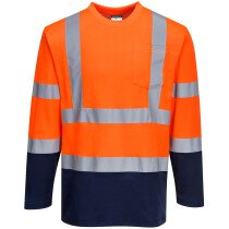 Portwest S280 Hi-Vis Two-Tone Long Sleeved Cotton Comfort T-Shirt High Visibility - Available in Orange or Yellow