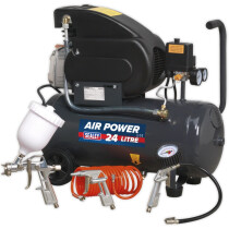 Sealey SAC2420EPK 230V Compressor 24ltr Direct Drive 2hp with 4 Piece Accessory Kit