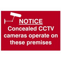 Scan 1607 Notice Concealed CCTV Cameras Operate On These Premises Sign