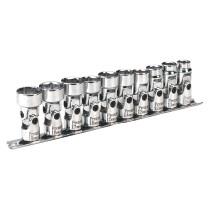 """Sealey AK2710 Universal Joint Socket Set WallDrive 10 Piece 3/8"""" Drive Metric"""