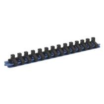 """Sealey SR1414 Socket Retaining Rail with 14 Clips Aluminium 1/4"""" Drive"""