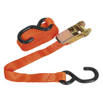 Sealey TD0845S Ratchet Tie Down 25mm x 4.5mtr Polyester Webbing S Hook 800kg Load Test