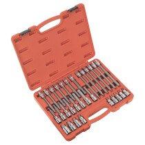 """Sealey AK2196 Hex Socket Bit Set 30 Piece 1/2"""" Drive"""