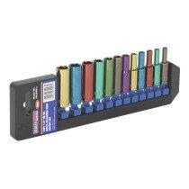 "Sealey AK282D Multi-Coloured Deep Socket Set 12 Piece 1/4"" Drive Metric"