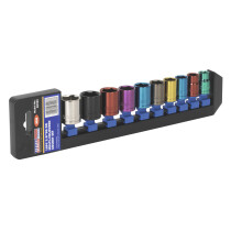 "Sealey AK285 Multi-Coloured Socket Set 10 Piece 3/8"" Drive 6 Point Metric"