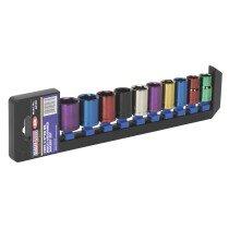 "Sealey AK288 Multi-Coloured Socket Set 10 Piece 1/2"" Drive 6 Point Metric"