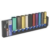 "Sealey AK288D Multi-Coloured Deep Socket Set 10 Piece 1/2"" Drive  6 Point Metric"