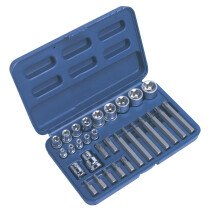 "Sealey AK619 TRX-Star (Torx type) Socket & Bit Set 30 Piece 1/4"", 3/8"" & 1/2"" Drive"