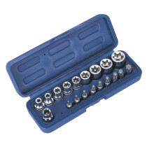 """Sealey AK6191 TRX-Star (Torx type) Socket & Bit Set 19 Piece 3/8"""" Drive"""