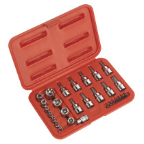 "Sealey AK6193 TRX-Star (Torx type) Socket & Security Bit Set 29 Piece 1/4"" & 3/8"" Drive"