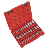 "Sealey AK6197 TRX-Star (Torx type) Socket & Bit Set 38 Piece 1/4"", 3/8"" & 1/2"" Drive"