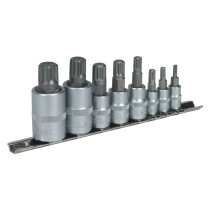 "Sealey AK6214 Spline Socket Bit Set 8 Piece 1/4"", 3/8"" & 1/2"" Drive"