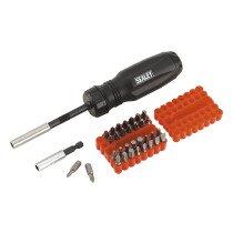 Sealey AK6498 Gearless Screwdriver with 33 Piece Bit Set