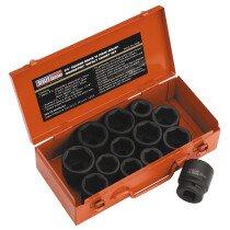 "Sealey AK686 Impact Metric/AF Set of Sockets 13 Piece 3/4"" Drive"