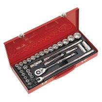 """Sealey AK693 Socket Set 32 Piece 1/2"""" Drive MM/ AF"""