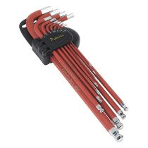 Sealey AK7164 Ball-End Hex Key Set 11 Piece Anti-Slip Extra-Long Metric
