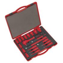 """Sealey AK7941 Insulated Socket Set 20 Piece 1/2"""" Drive 6 Point Walldrive VDE/TUV/GS Approved"""