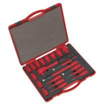 "Sealey AK7941 Insulated Socket Set 20 Piece 1/2"" Drive 6 Point Walldrive VDE/TUV/GS Approved"