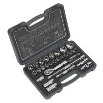"Sealey AK7953 Socket Set 28 Piece 1/2"" Drive 6pt WallDrive Metric"