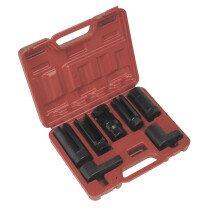 """Sealey SX032 Oxygen Sensor Socket Set 7 Piece 3/8"""" & 1/2"""" Drive"""