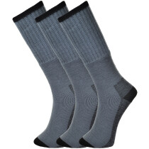 Portwest SK33 Grey Size 6 - Size 9 (EU39 - EU43) Workwear Socks Triple Pack