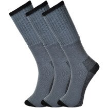 Portwest SK33-Grey Size 10 - Size 13 (EU44 - EU48) Workwear Socks Triple Pack