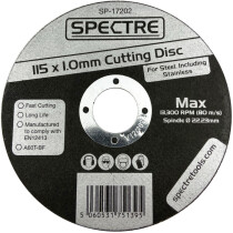 Spectre SP-17202 115 x 1mm Industrial Quality Metal Cutting Disc