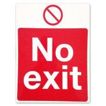 Signs & Labels P75AR  'No Exit' 400x300mm Rigid Plastic Safety Sign