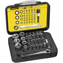 Stanley FatMax 1-13-907 1/4in Drive Socket and Bit Set with Mini Ratchet Wrench 39 Piece STA113907