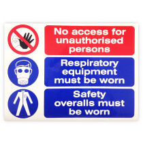 """JSP CLOFF1249 Self Adhesive """"No Access, Respiratory Equip & Safety Overalls"""" Safety Sign 350x220mm"""