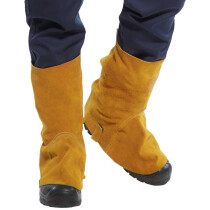 Portwest SW32 Pair of Leather Welding Boot Cover Flame Resistant - Tan