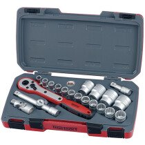 "Teng Tools T1221 Metric Socket Set 21 piece 1/2"" Drive TENT1221"