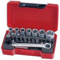 """Teng Tools T1420 20 Piece Bits Metric Socket Set 1/4"""" Drive TENT1420"""