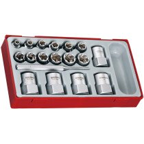 """Teng Tools TTBE18 18 Piece 3/8"""" and 1/2"""" Drive Stud Extractor Set"""