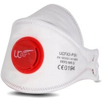 Ultimate UCFX3-P3V FFP3 NR Disposable Fold Flat Mask with Valve (Box of 10)