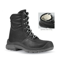 Upower SO70013 Tundra Black Warm Lined Water Resistant Leather Ankle Boot S3 CI SRC Scuff Cap