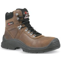 Upower UM10034 Brown Water Resistant Leather Ankle Boot S3 HRO SRC Composite Cap & Midsole