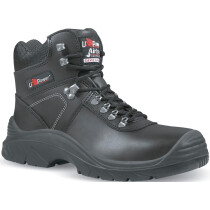 Upower UM10144 Black Water Resistant Leather Ankle Boot S3HRO HI SRC with Scuff Cap