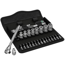 Wera 05004018001 Zyklop Metal-Switch Slim Ratchet and Socket Set of 28 Metric 1/4in Drive WER004018