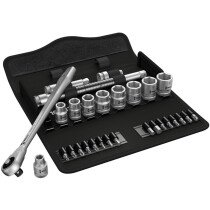 Wera 05004047001 Zyklop Metal-Push Ratchet and Socket Set of 29 Metric 3/8in Drive WER004047