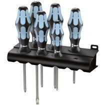 Wera 032063 Slotted, Phillips PH and Pozi PZ Stainless Steel Screwdriver 6 Piece Set WER032063