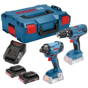 Bosch GSB 18 V-21 + GDR 18 V-160 18V Li-ion  Combi Drill / Impact Driver Twinpack with 2x2.0Ah Batteries in L-Boxx